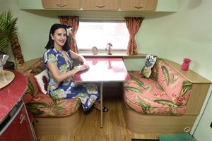 Miss Bamboo and her vintage Airstream caravan
