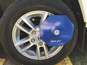 An approved wheel-lock can help with caravan security