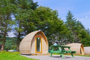Camping pods are available for a touch of luxury camping