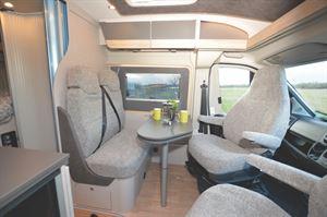 The living area in the Globecar Roadscout Elegance