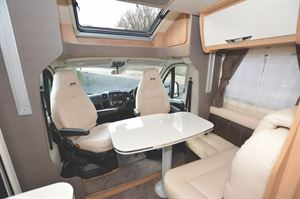The cab and lounge area in the McLouis Fusion 330 motorhome