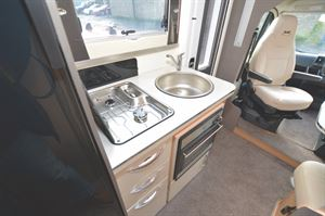 The kitchen area in the McLouis Fusion 330 motorhome