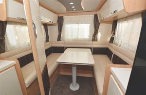 The rear lounge in the McLouis Fusion 330 motorhome