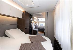 The Adria Alpina Mississippi caravan bedroom