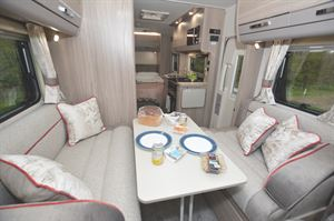 The lounge area in the Elddis Marquis Majestic 150