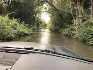 Land Rover Defender in water