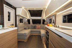 A view of the interior in the Adria Alpina Colorado caravan