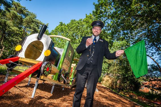 North Norfolk Railway's General Manager, Andrew Munden officially opens the new play facilities at Kelling Heath Holiday Park (Photo courtesy of Kelling Heath Holiday Park)