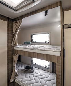 Rear bunk beds in the Rimor Evo Sound motorhome
