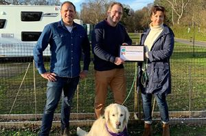 Just before lockdown in March, Rufus Bellamy presented Martin and Victoria, plus golden retriever Muswell, with their award