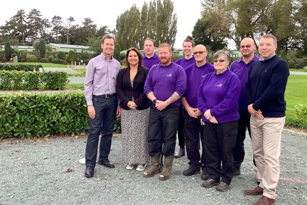 John and Sarah Brookshaw (left) with Plassey's ground team who won a vote of thanks from David Bellamy