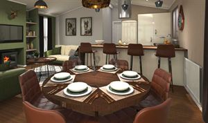 The dining area in Tingdene's latest Country Lodge woodland-theme holiday home