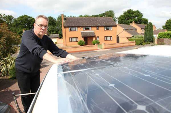 Solar panel fitted on a caravan