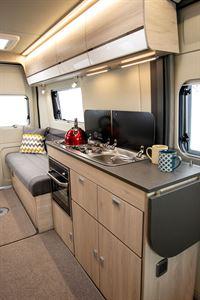 The kitchen in the Benivan 120 campervan