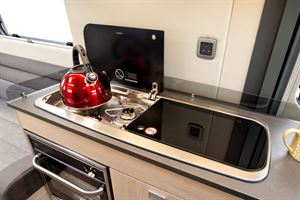 Close up of the kitchen hob in the Benivan 120 campervan