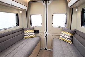 The rear lounge in the Benivan 120 campervan