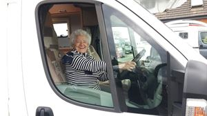 100-year-old Eileen Butler behind the wheel of her new motorhome