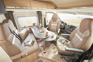 The lounge and cab area in the Malibu 600 DB Charming Coupe motorhome