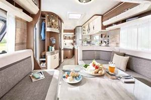 Looking from the lounge to the rear French bed in the new Hobby Prestige 560 FC