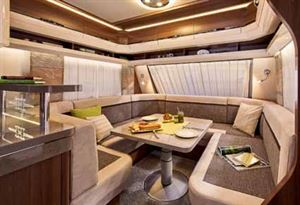 The wrap-around lounge that features in two new Hobby Prestige caravans (seen here in the 720 WQC)