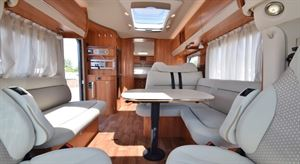 The L-shaped lounge layout is popular with UK buyers - picture courtesy of Erwin Hymer Travelworld