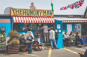 The Hungry Man kiosk situated on the harbourside at Rozel