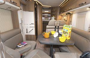 The lounge and living area in the Malibu I 500 QB Touring motorhome