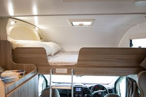 The drop down bed above the cab in the Benimar Primero 313 motorhome