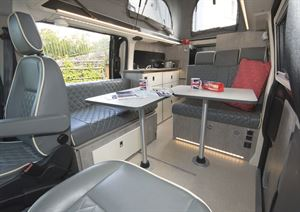 The smart interior of the WildAx Triton campervan
