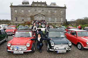 Biddy Hughes, Marketing Manager Westport House pictured with Joe Conboy site manager, Stuart Thornton (ticket sales) and Bernard  Joyce with the drivers and supporters on the steps. Picture; Frank Dolan.