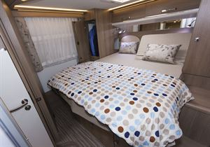 The large double bed in the Malibu I 500 QB Touring motorhome