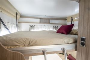 The drop down bed in the rear of the Benimar Tessoro 482 motorhome