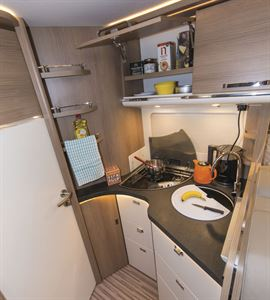 The kitchen in the Malibu I 500 QB Touring motorhome