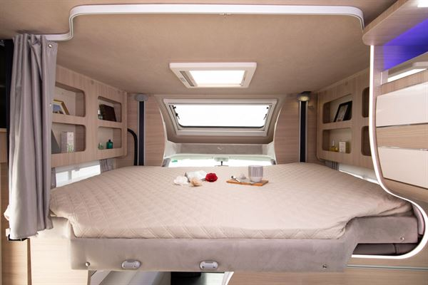 The drop down bed in the Mobilvetta Kea P67 motorhome