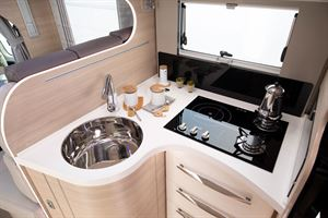 The kitchen in the Mobilvetta Kea P67 motorhome