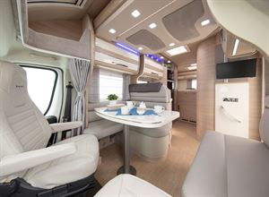 The lounge in the Mobilvetta Kea P67 motorhome