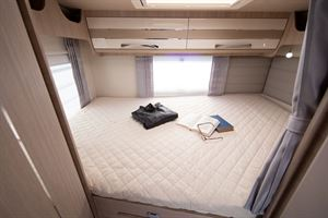 The rear bed in the Mobilvetta Kea P67 motorhome