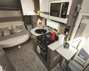 The well equipped kitchen in the Elddis Encore 250 motorhome