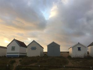 Beach huts along the Norfolk coast