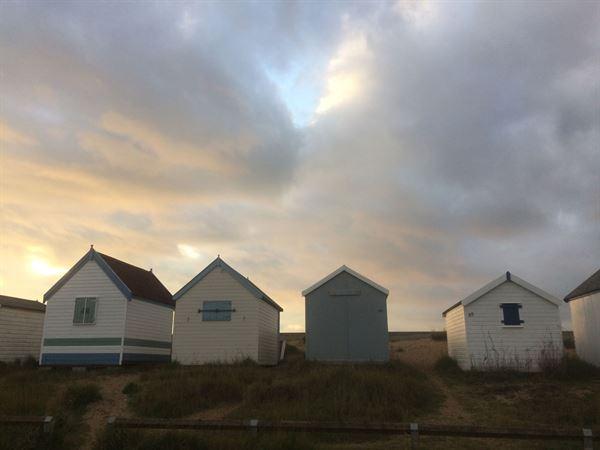 Beach huts along the Norfolk coast
