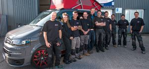 The team at Autohaus with Tim's new campervan