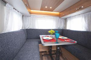 The lounge area in the Weinsberg CaraOne 390 PUH caravan