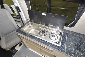 Close up of the kitchen in the A1 Camper Conversions Explorer campervan