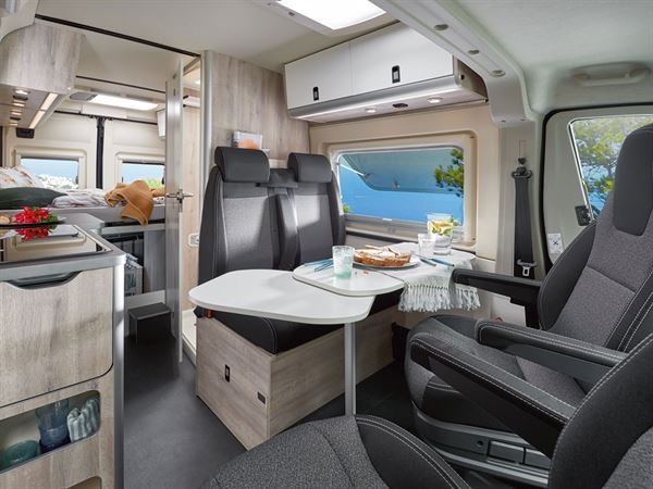 A view of the interior of the Westfalia Amundsen 600D campervan