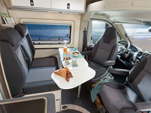 The cab and lounge seats in the Westfalia Amundsen 600D campervan