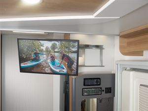 Adamo 69-4 entrance unit with multi-directional and multi-angled slide out TV bracket