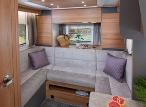 Adamo 75-4DL rear lounge featuring domestic style sofe seating with premium quality fabrics