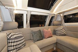 Comfortable seating in the Adria Alpina Colorado caravan