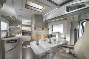 The interior of the Adria Compact SC Supreme island bed motorhome