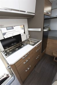 The kitchen in the Adria Coral XL Plus 600 DP motorhome
